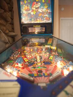 A full-size Super Mario Brothers pinball machine and a Wii are our children's favorite games