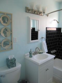 Bathroom with a shower and bathtub with an Ocean Theme!