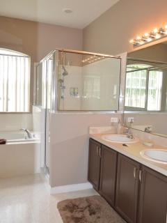 Double sink with towel closet in Master Ensuite
