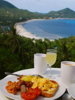 'Upper' villa roof view, and breakfast, delivered to your villas!