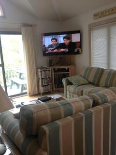 Top level living area with TV, slider to deck and picnic table