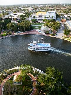 The Jungle Queen Riverboat as it passes under our balcony.