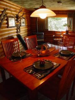 comfortable dining near the gas fireplace