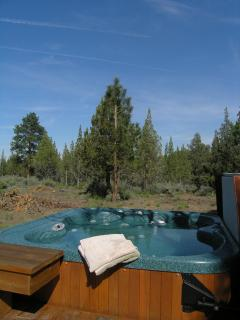 The hot tub is very private.  Swimsuits not required.