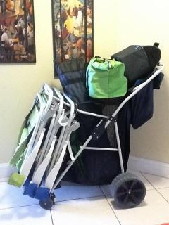 Beach Cart, including 4 Beach Chairs, Umbrella and Cooler