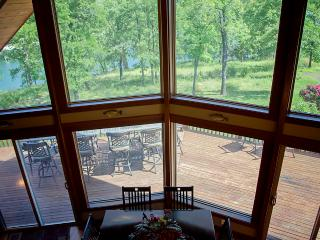 Looking down to the lake from upper bedroom suite