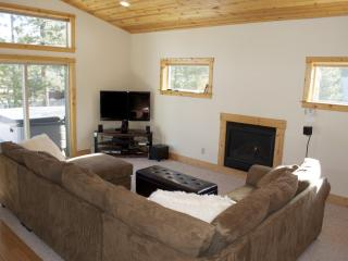 Comfy sofa with HD TV and gas fireplace