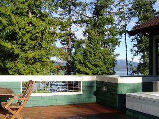This sunny deck is just outside the main entrance.