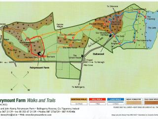 Map of our walks on trails on 450 acre farm accesible to all visitors,cottage based at Oakwood, 11