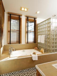 Master bathroom with luxurious bathtub