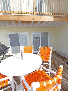 lower/upper deck/private deck with bar high Chairs to see over Rail