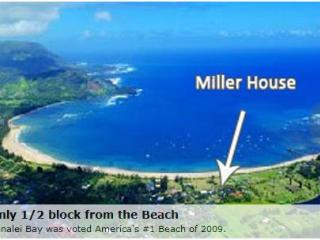 The Miller Hanalei House,  200 Yards to the Beach