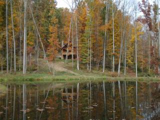 The Woodbury Cabin overlooks a 1-acre pond stocked yearly with largemouth bass and channel cats
