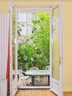 View of private garden from bedroom window