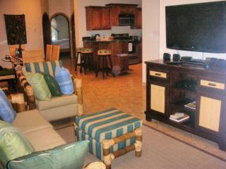 Living room with flat screen TV and DVD player