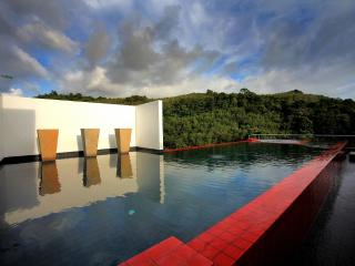 The hills from the edge of the private infinity pool