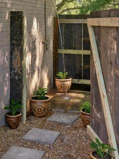 After a long ride on the Natchez Trace, relish the outdoor shower! www.nashvillefarmstay.com