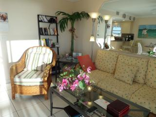 Living Room with bookshelf and adjustable lamp. Flowers  on coffee table are  from our Orchid  tree.