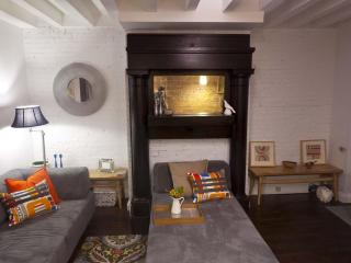 Ebony fireplace surround, painted brick and modern furnishings.