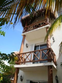 look up at your palapa balcony