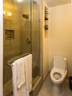 Hallway Bathroom showing a shower