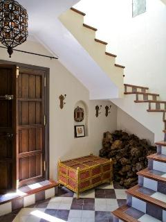 Casa Mosaica entrance hall from street. Stairs to the owners apartment upstairs.