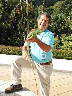 Glenn w/ Lindo, our tame Blue Morph Green Iguana..Awesome colors to be found only in Nature