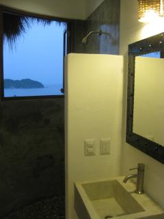 South Bath w/Ocean Views & Custom Concrete Sink & Shower