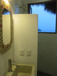 North Bath w/Ocean Views & Custom Concrete Sink & Shower