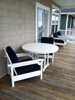 Poly-Wood club chairs and tables on the 3rd floor deck.