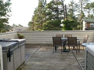 Huge deck on top of double garage with hot tub, 2 tables, 10 chairs, 2 cushioned lounges,and gas grill