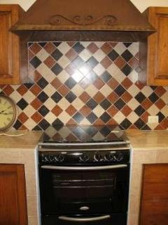 gas stove/oven with handmade iron stove hood