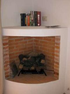 Corner fireplace in front bedroom