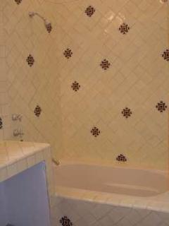 Large soaking tub and shower in front bathroom