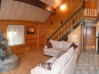 Cozy bright living room with 20 foot ceilings, warm wood stove