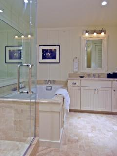 Bathroom with separate shower, soaking tub, and private toilet! Washer & dryer in bathroom closet!