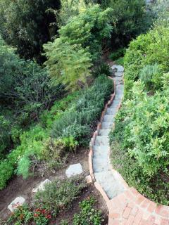 Steps to take a garden trail.