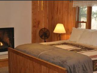 Master suite with king bed and fireplace