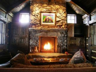 A cozy living room fire.