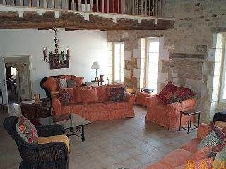 The large main lounge.  The views are of the Church & Chateau (neither are open to the public)