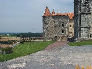 The view of The neighbours! The chateau & church date from the 1400's and are illuminated at night