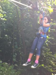 zip lining in the rain forest