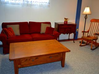 Newly renovated cozy living room fully equipped with a sleeper sofa, twin sized sleeper futon and TV