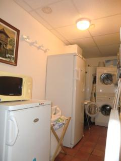 Kitchen annex / loundry with  freezer, big refrigorator, washing machine and dryerr