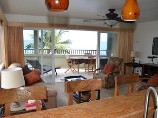 From the kitchen looking over the bar to the lanai and ocean.