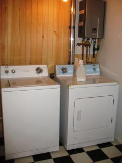 Washer and Dryer in Utility Bathroom