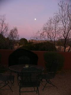 Sunset view with full moon rising