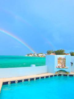 Double Rainbow looking from Nassau out to the ocean from the private pool and patio