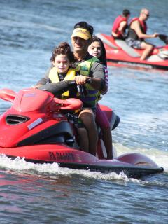 My kids and I jet skiing.   The water is almost always very calm.