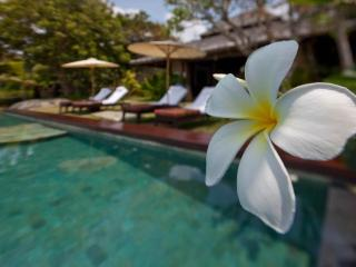 Infinity pool with flowers